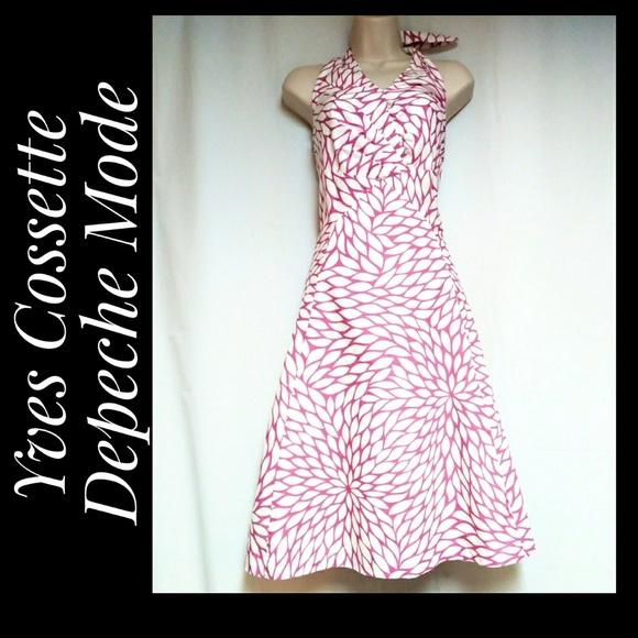 Yves Cossette Depeche Mode Dresses & Skirts - Halter Dress White Pink Geometric Floral Size 10